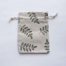 Джутовый мешочек с растительным принтом