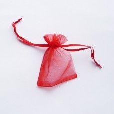 Мешочек из органзы красный 7х9 см