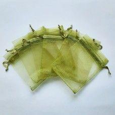 Мешочек из органзы оливковый 7х9 см