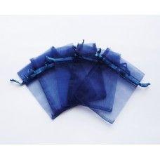 Мешочек из органзы темно синий 7х9 см