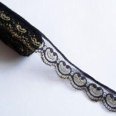 Кружевная лента черная с золотом 2,2 см